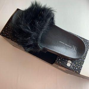 INC faux fur slide slippers